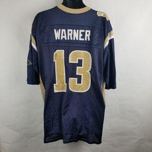 buy online f08b6 15a3e Kurt Warner St Louis Rams Jersey Blue Defects